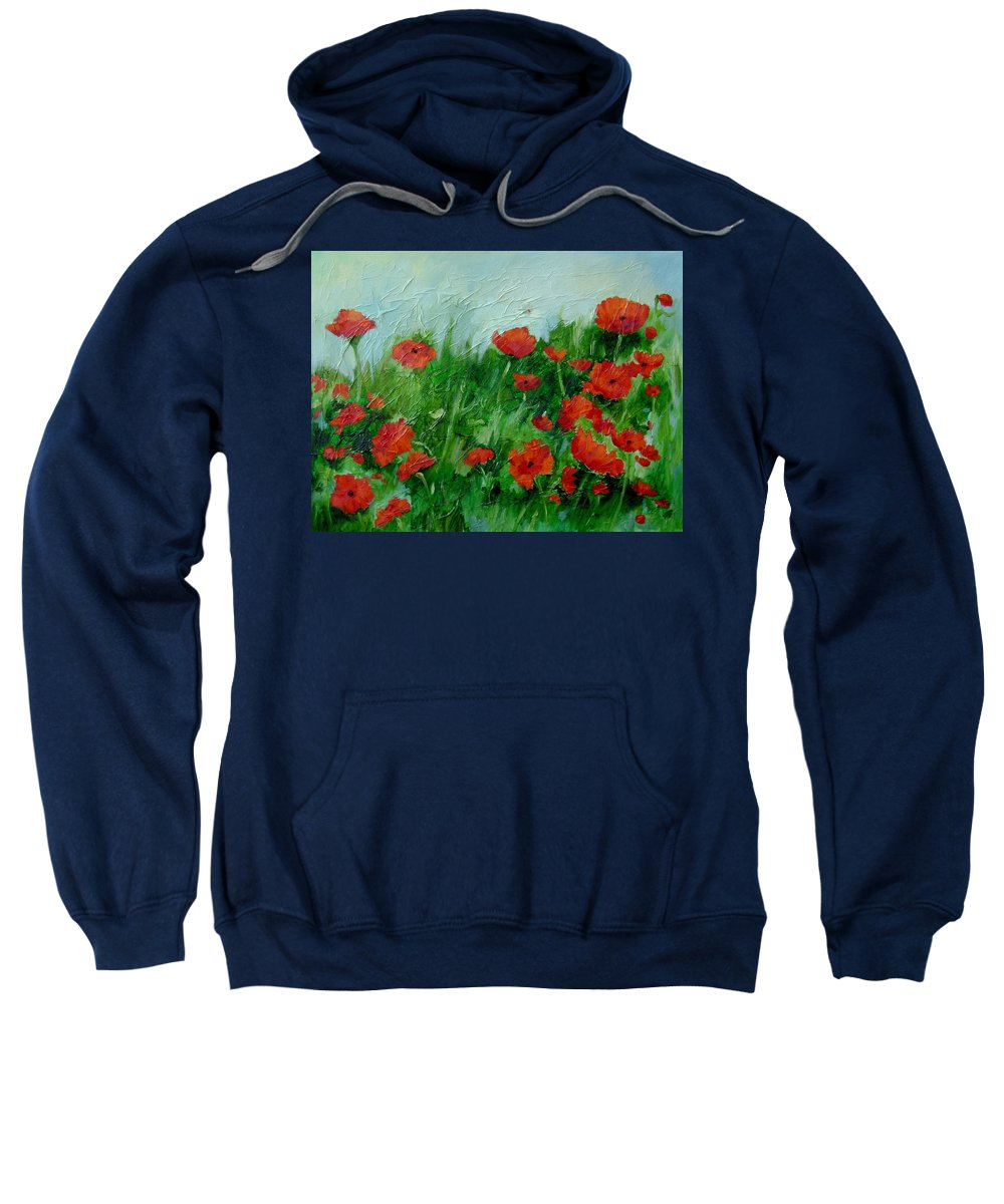 Red Poppies Sweatshirt featuring the painting Summer Poppies by Ginger Concepcion