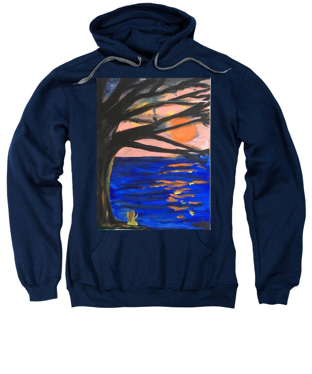 Orange Sweatshirt featuring the painting Sun Worshipping by Nicole Poirier