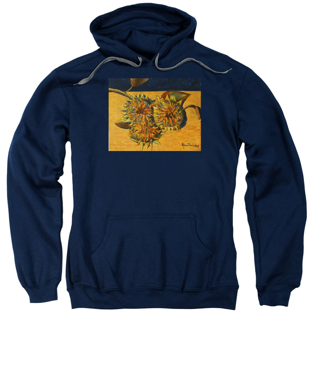 Still-life Painting Sweatshirt featuring the painting Sunflowers by Alfonso Palma