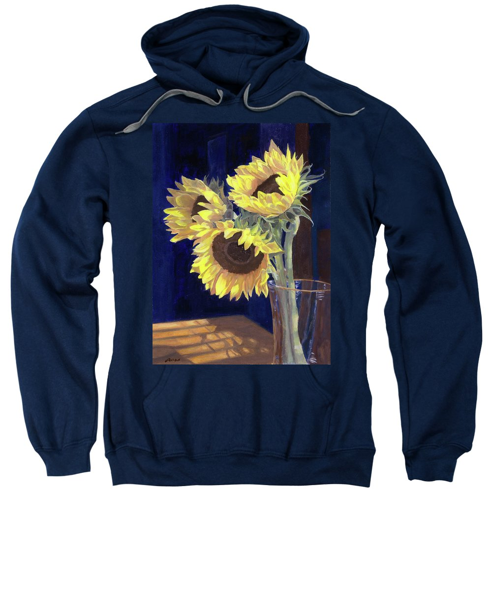 Sunflowers Sweatshirt featuring the painting Sunflowers And Light by Lynne Reichhart