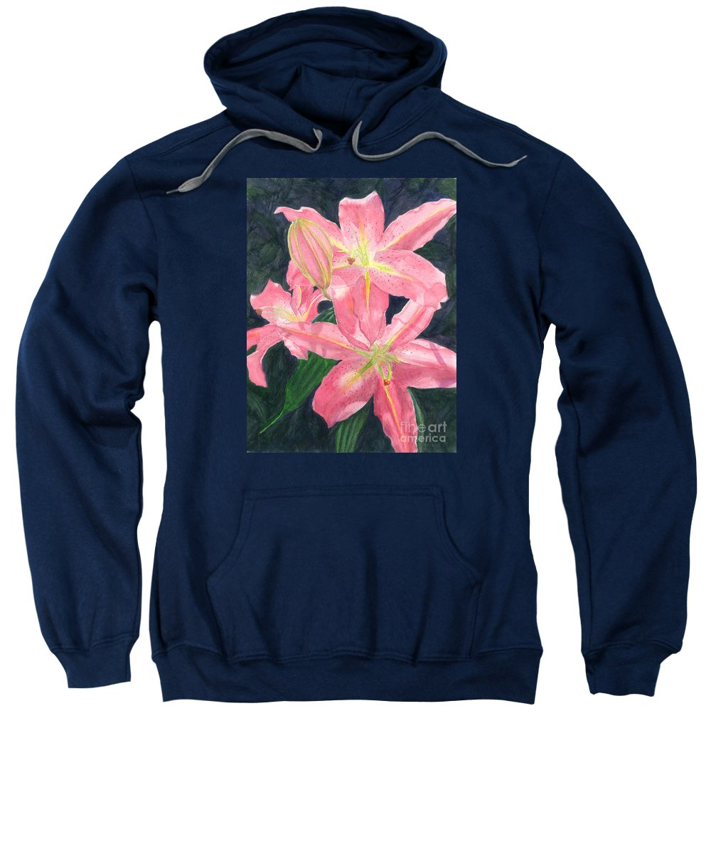 Floral Sweatshirt featuring the painting Sunlit Lilies by Lynn Quinn