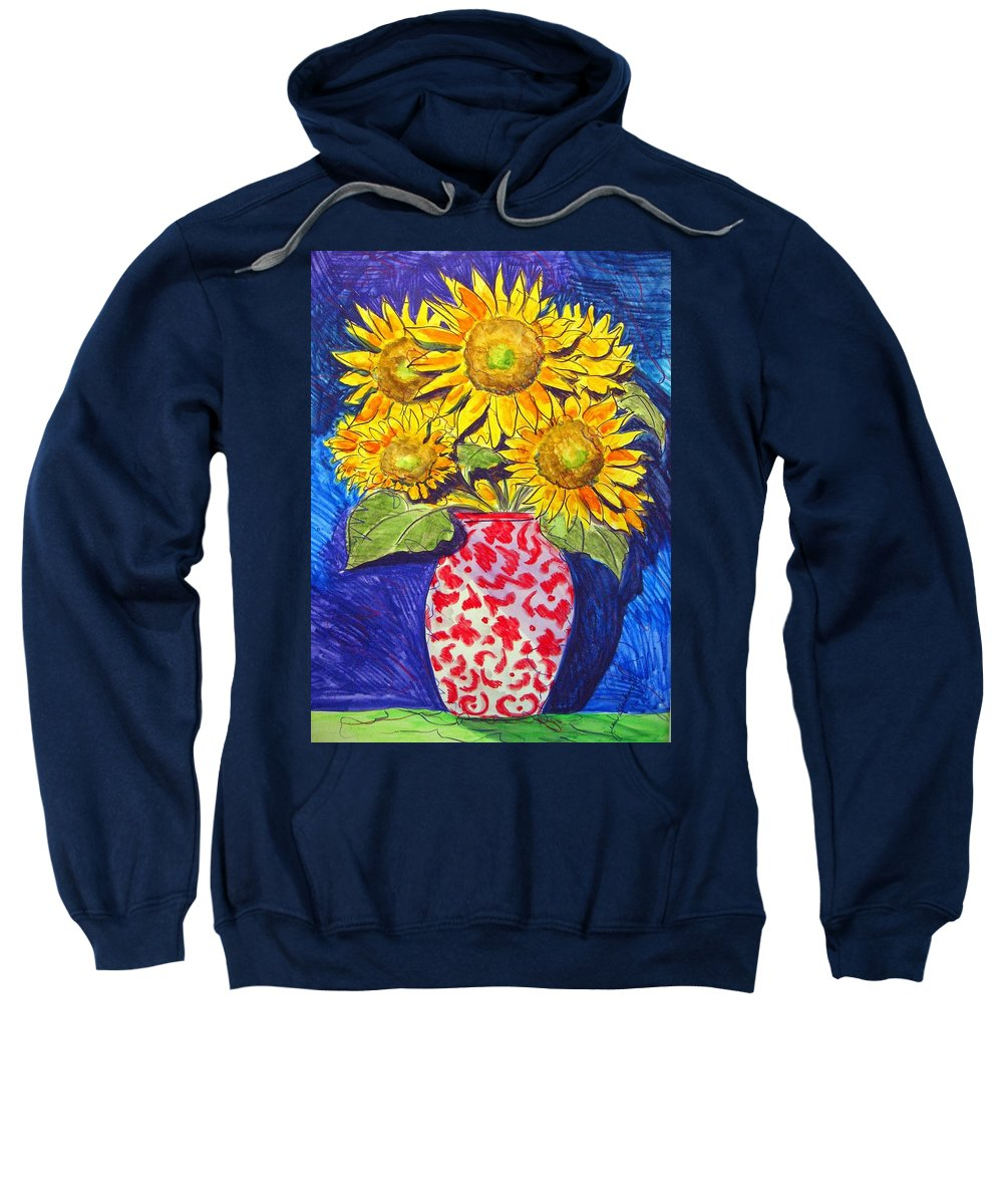 Sunflower Sweatshirt featuring the painting Sunny Disposition by Jean Blackmer