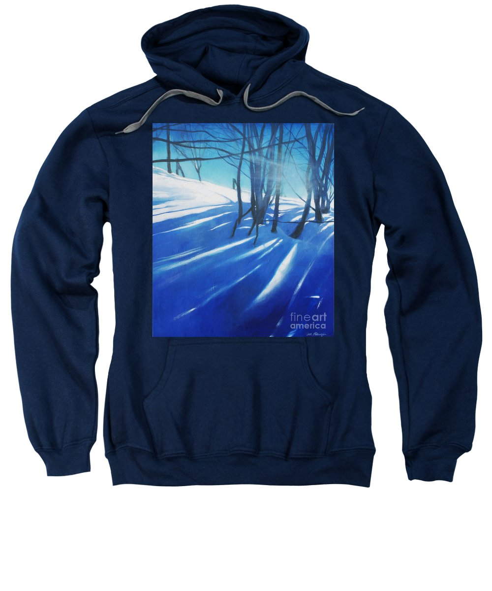 Lin Petershagen Sweatshirt featuring the painting Sunny Traintrip To Hamar by Lin Petershagen