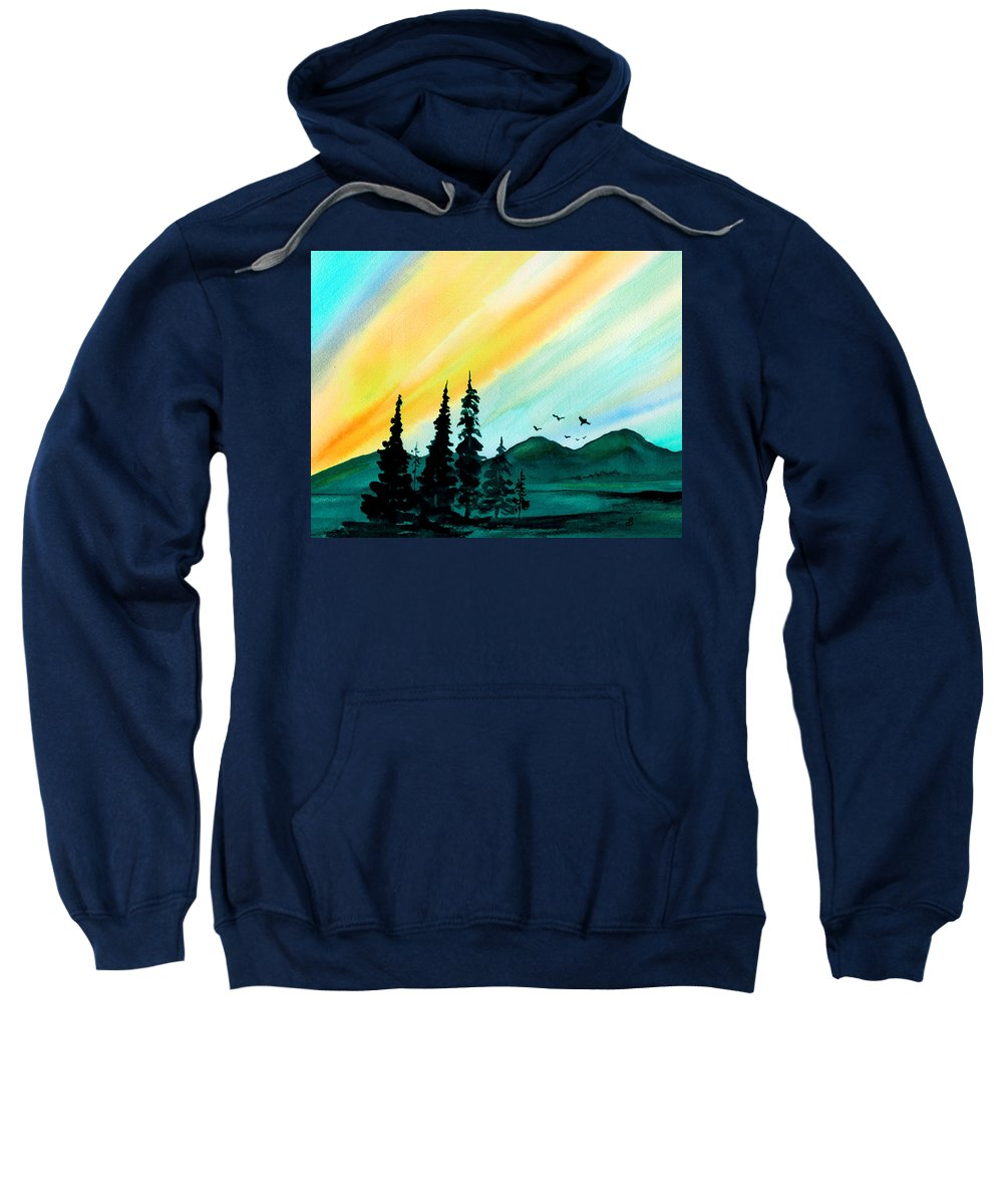 Landscape Sweatshirt featuring the painting Sunrays by Brenda Owen