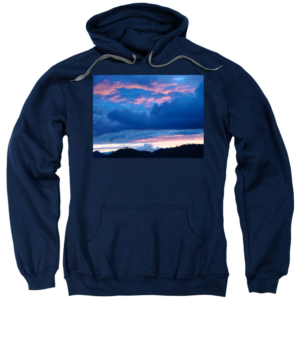 Sunset Sweatshirt featuring the photograph Sunset Art Print Blue Twilight Clouds Pink Glowing Light Over Mountains by Baslee Troutman