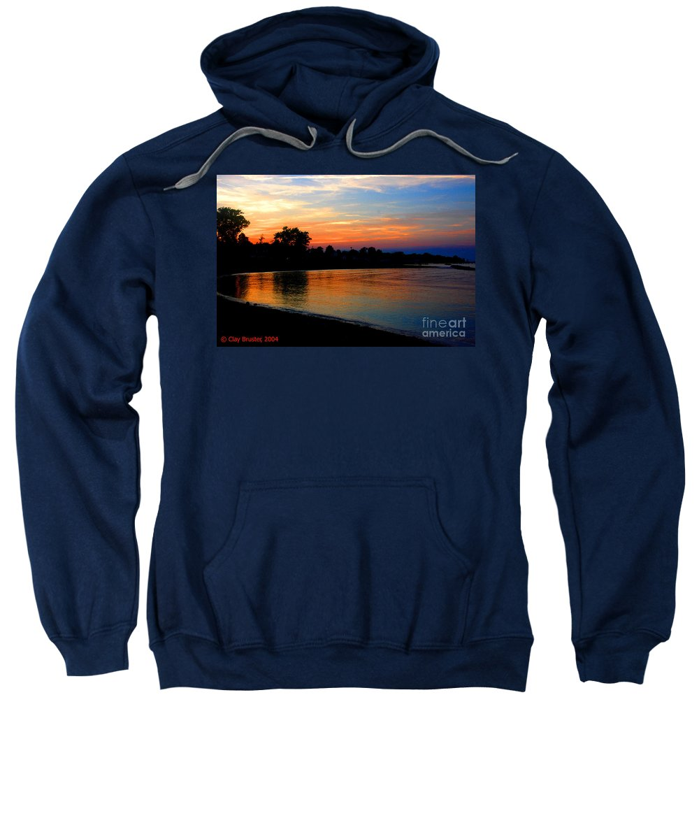 Clay Sweatshirt featuring the photograph Sunset At Colonial Beach Cove by Clayton Bruster