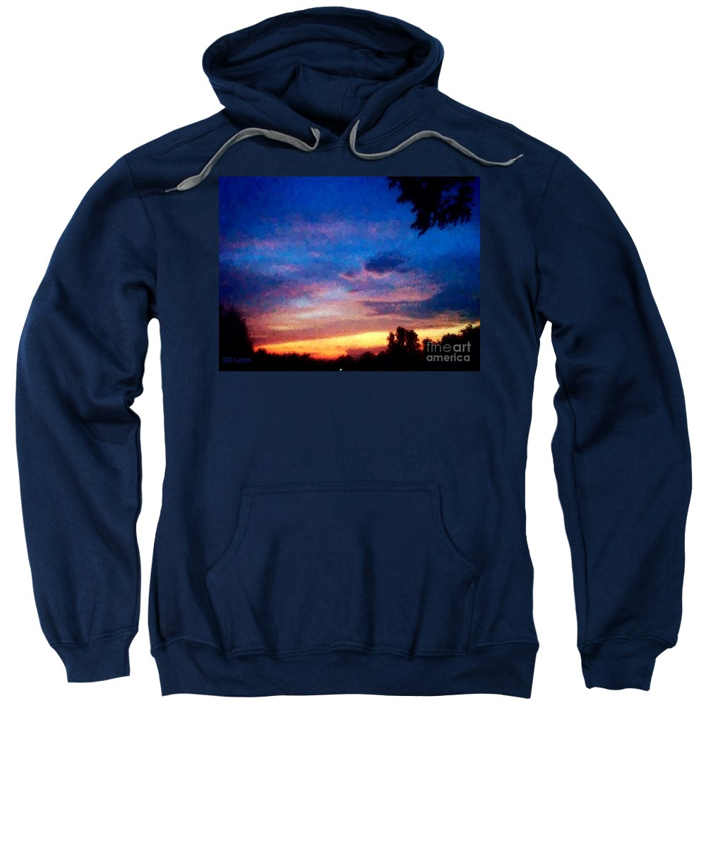 Sunset Sweatshirt featuring the photograph Sunset In A Deep Blue Sky Line by Debra Lynch