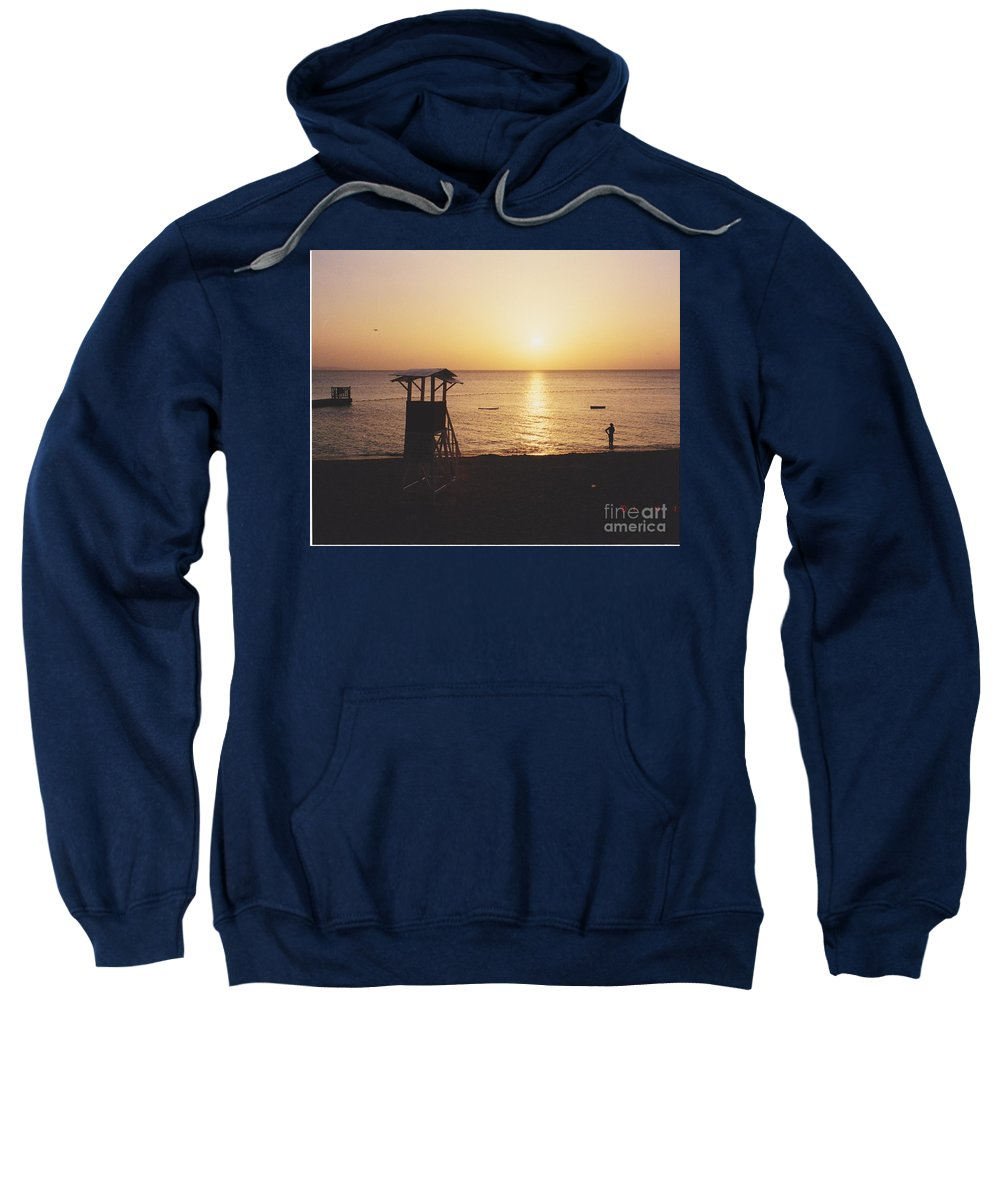 Sunsets Sweatshirt featuring the photograph Sunset Life Guard by Michelle Powell