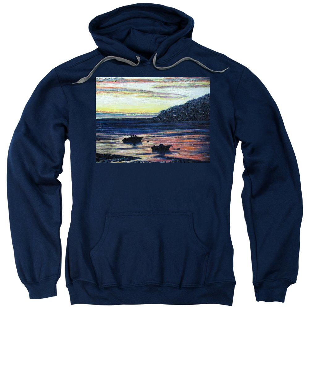 Maine Sweatshirt featuring the painting Sunset On Maine Coast by Richard Nowak