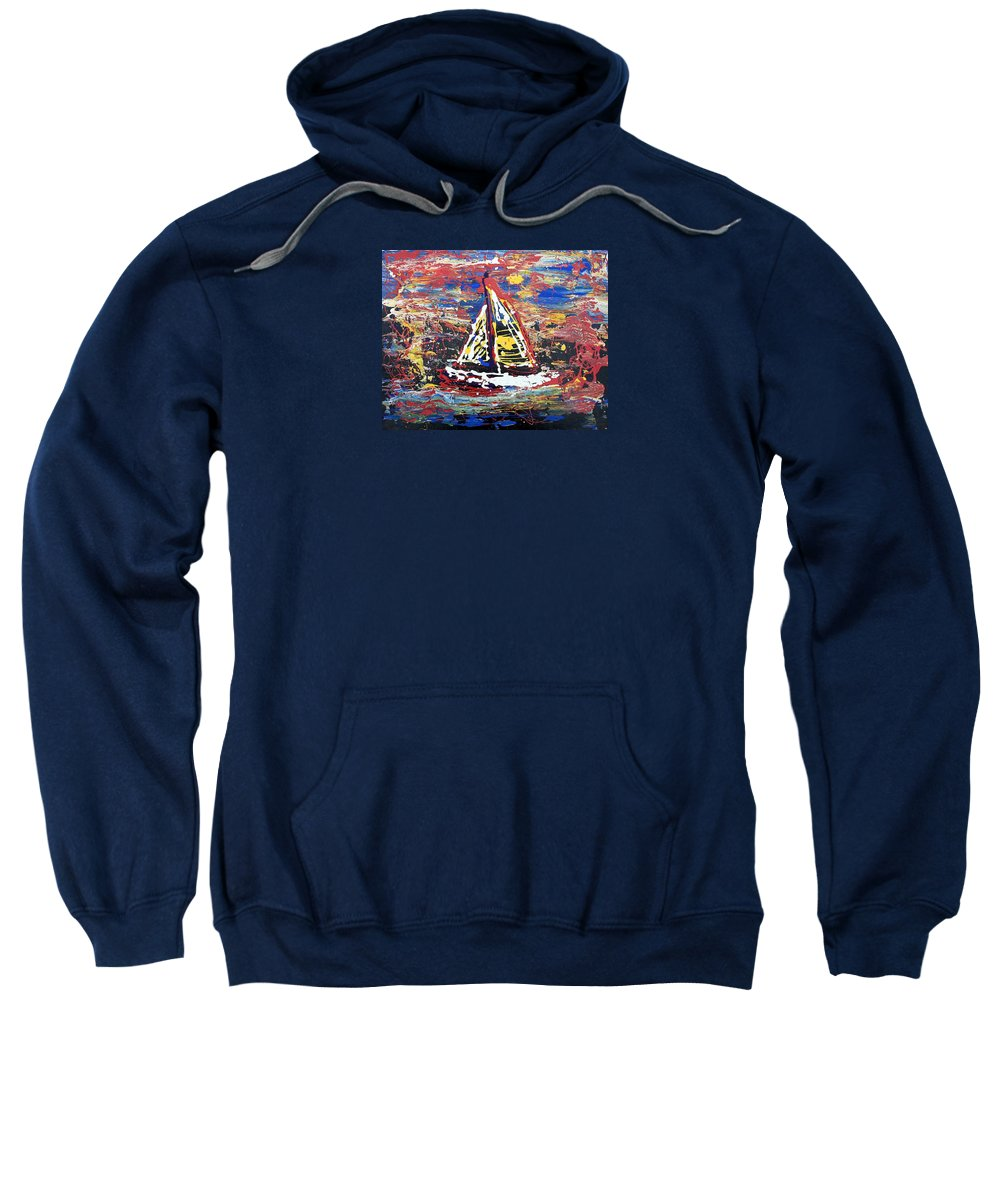 Abstract Art Sweatshirt featuring the painting Sunset On The Lake by J R Seymour