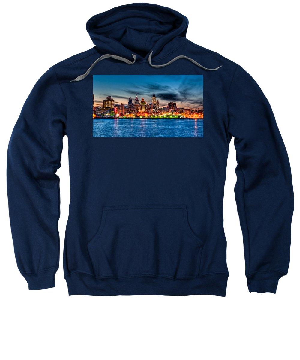 Photography Sweatshirt featuring the photograph Sunset Over Philadelphia by Louis Dallara