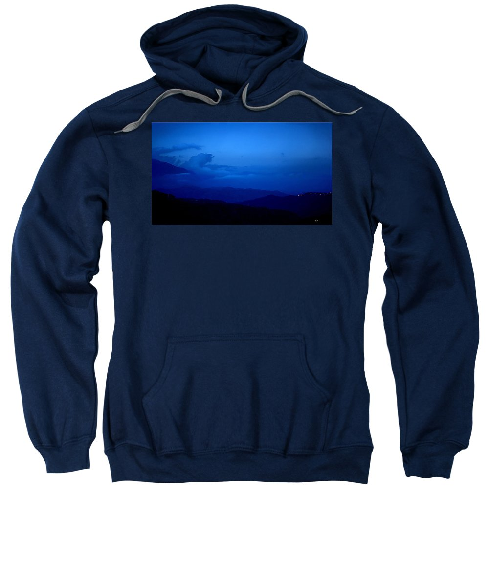Sunset Mountains Light Clouds Sky Blue Black Sweatshirt featuring the photograph Sunset Over The Mountains by Galeria Trompiz