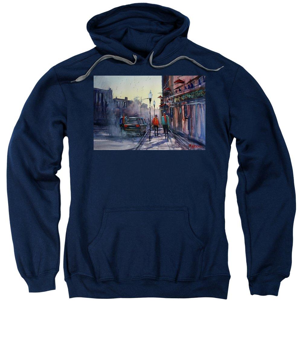 Ryan Radke Sweatshirt featuring the painting Sunset Stroll by Ryan Radke