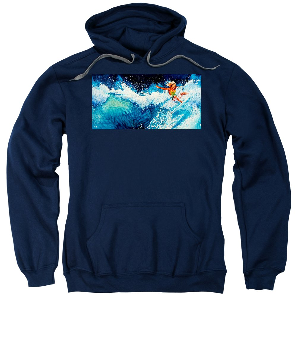 Sports Art Sweatshirt featuring the painting Surfer Girl by Hanne Lore Koehler