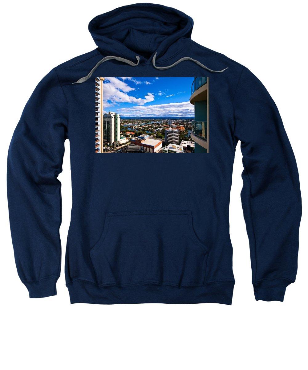 Surfers Paradise Sweatshirt featuring the photograph Surfers Paradise View by Darren Burton