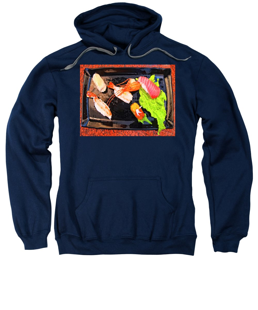 Sushi Plate Sweatshirt featuring the mixed media Sushi Plate 2 by Dominic Piperata