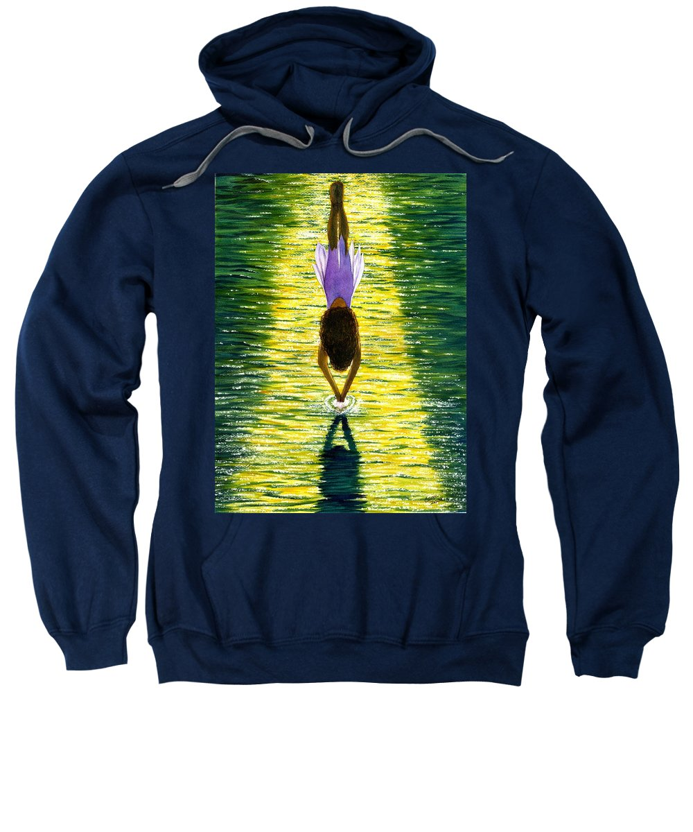 Dive Sweatshirt featuring the painting Take The Plunge by Catherine G McElroy