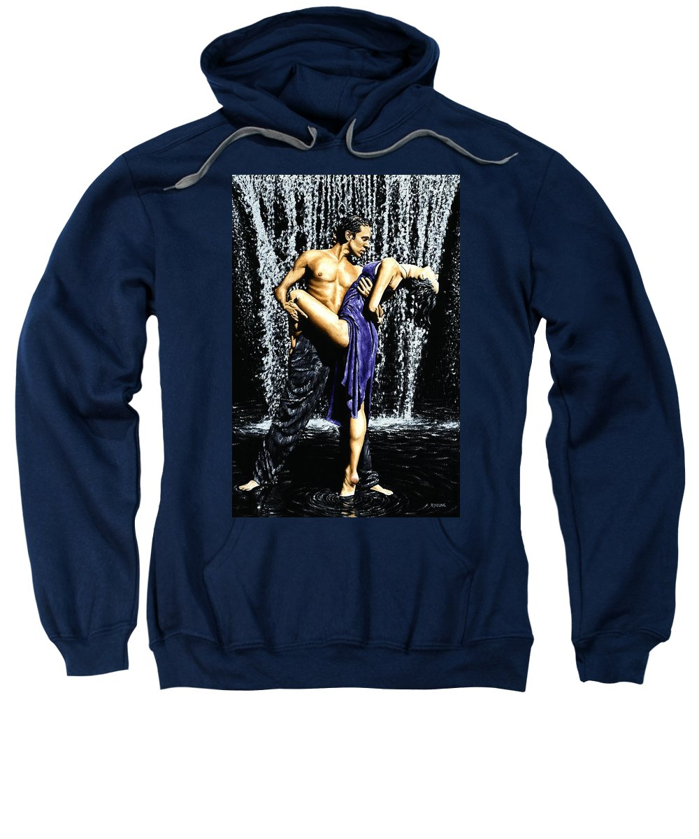 Tango Sweatshirt featuring the painting Tango Cascade by Richard Young