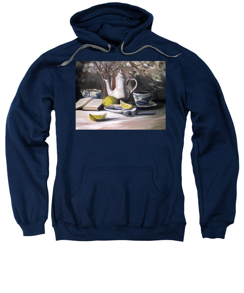 Lemon Sweatshirt featuring the painting Tea With Lemon by Nancy Griswold
