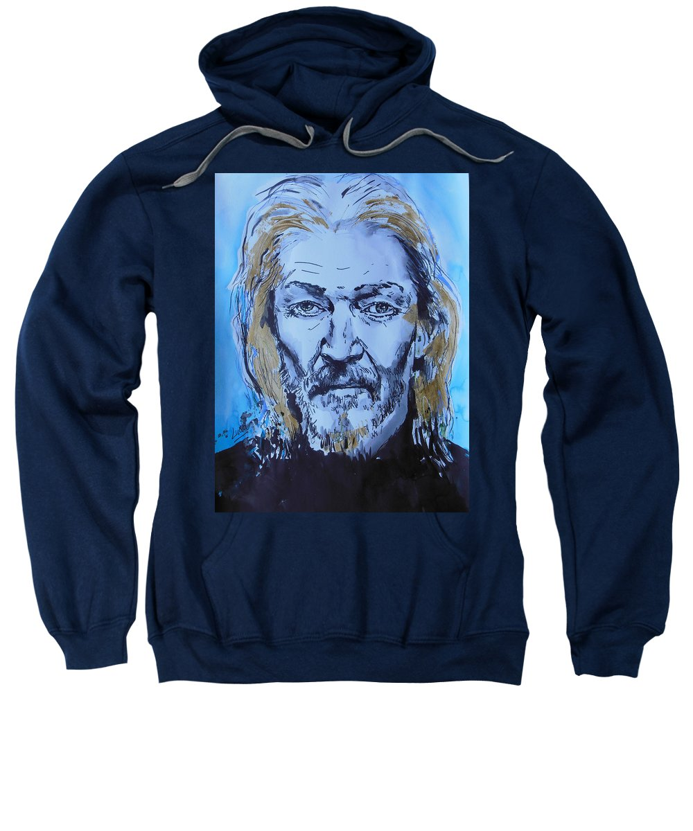 Ted Neeley Sweatshirt featuring the painting Ted Neeley by Lucia Hoogervorst