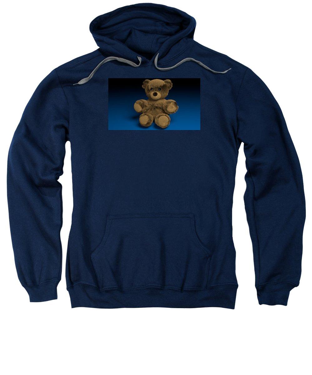 Teddy Bear Blender Blue Brown Toy Furry Sweatshirt featuring the digital art Teddy Bear by Paul Maher