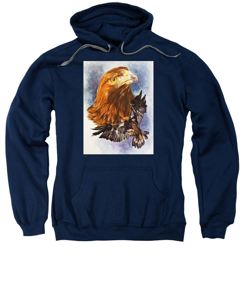Eagle Sweatshirt featuring the mixed media Tenacity by Barbara Keith