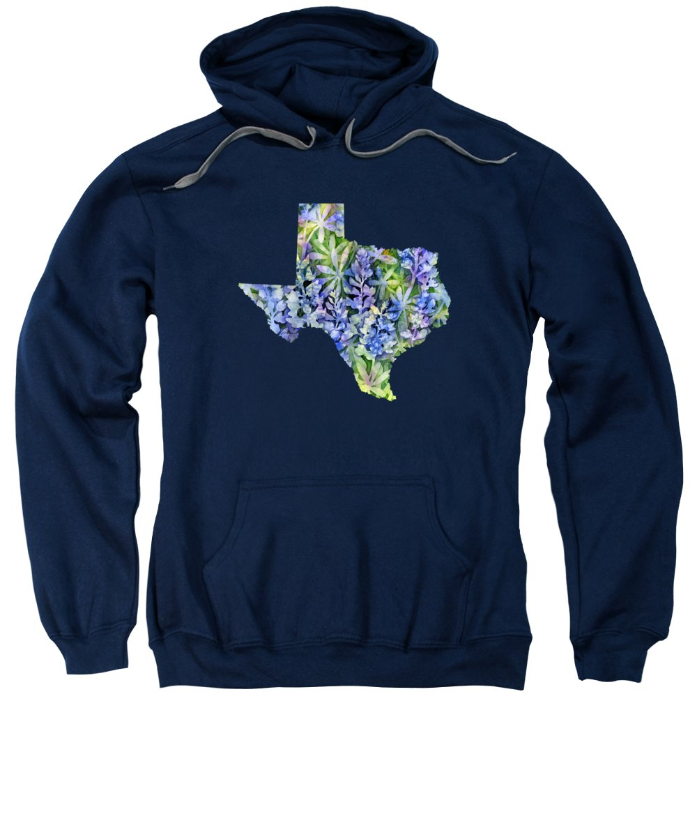 Texas Sweatshirt featuring the painting Texas Blue Texas Map On White by Hailey E Herrera