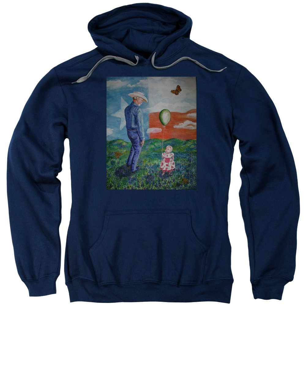 Monarch Sweatshirt featuring the painting Texas Grandpa by Shirley Goss