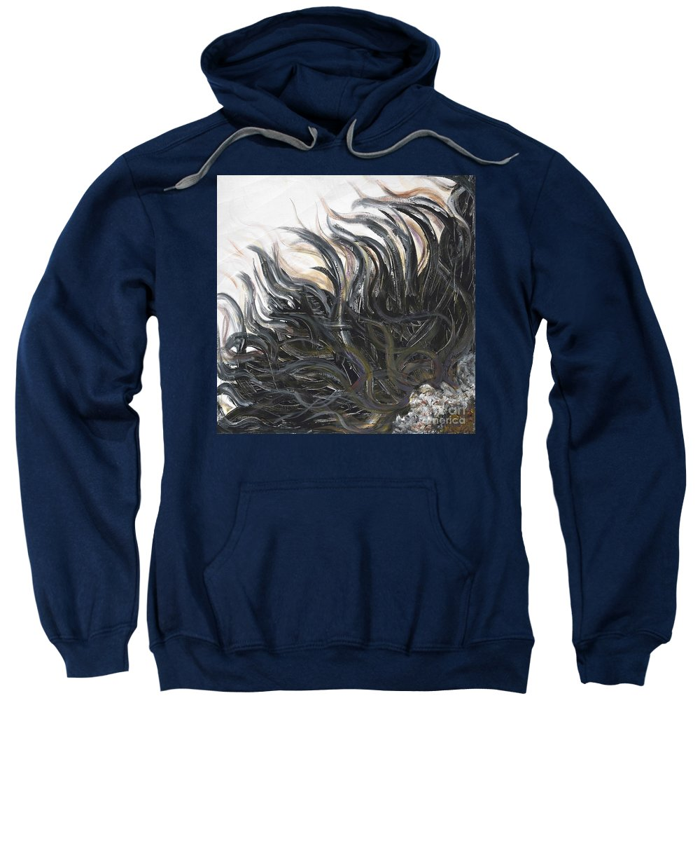 Texture Sweatshirt featuring the painting Textured Black Sunflower by Nadine Rippelmeyer