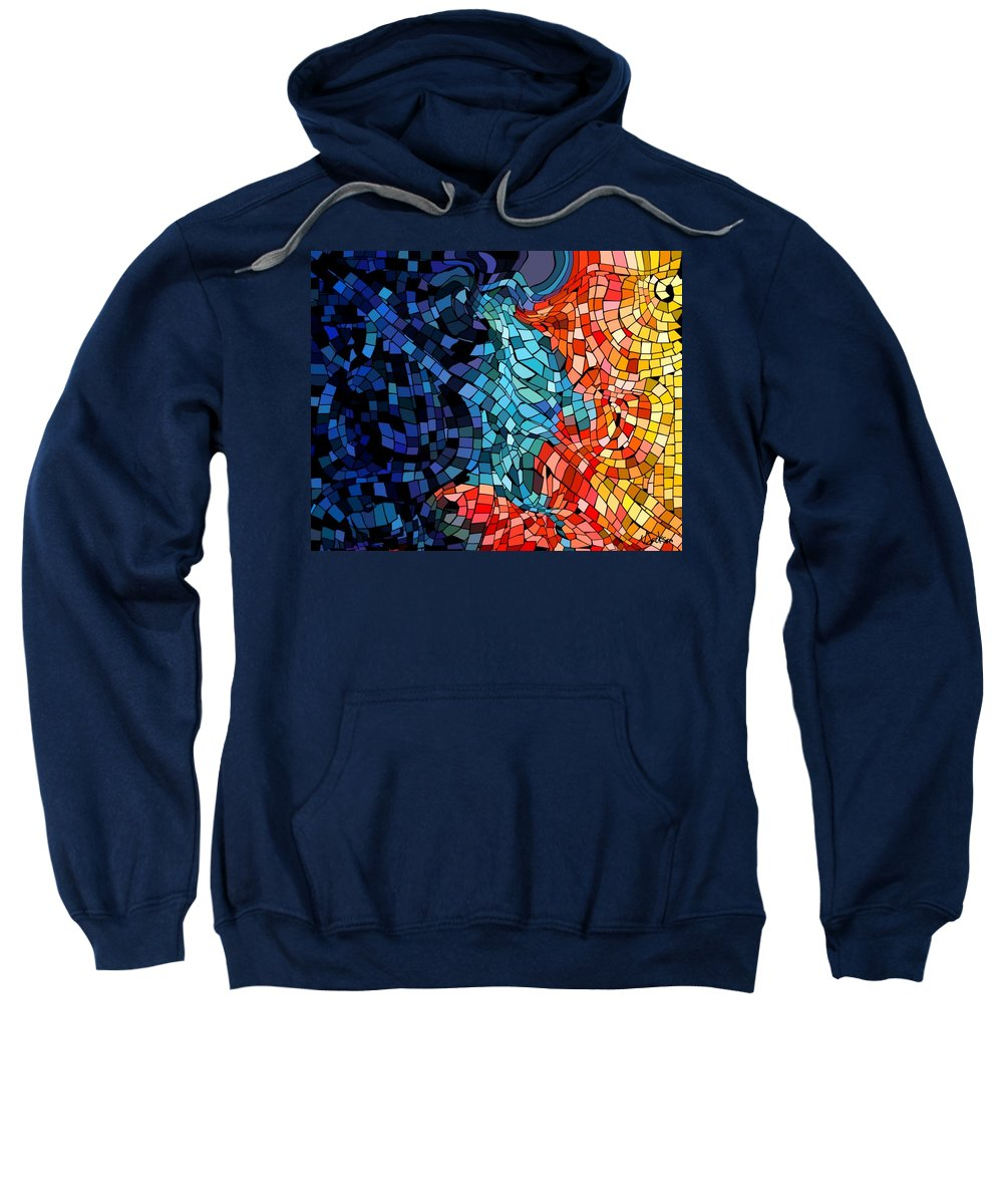 Kiss Colors Digital Abstract Sweatshirt featuring the digital art The Abstract Kiss by Veronica Jackson