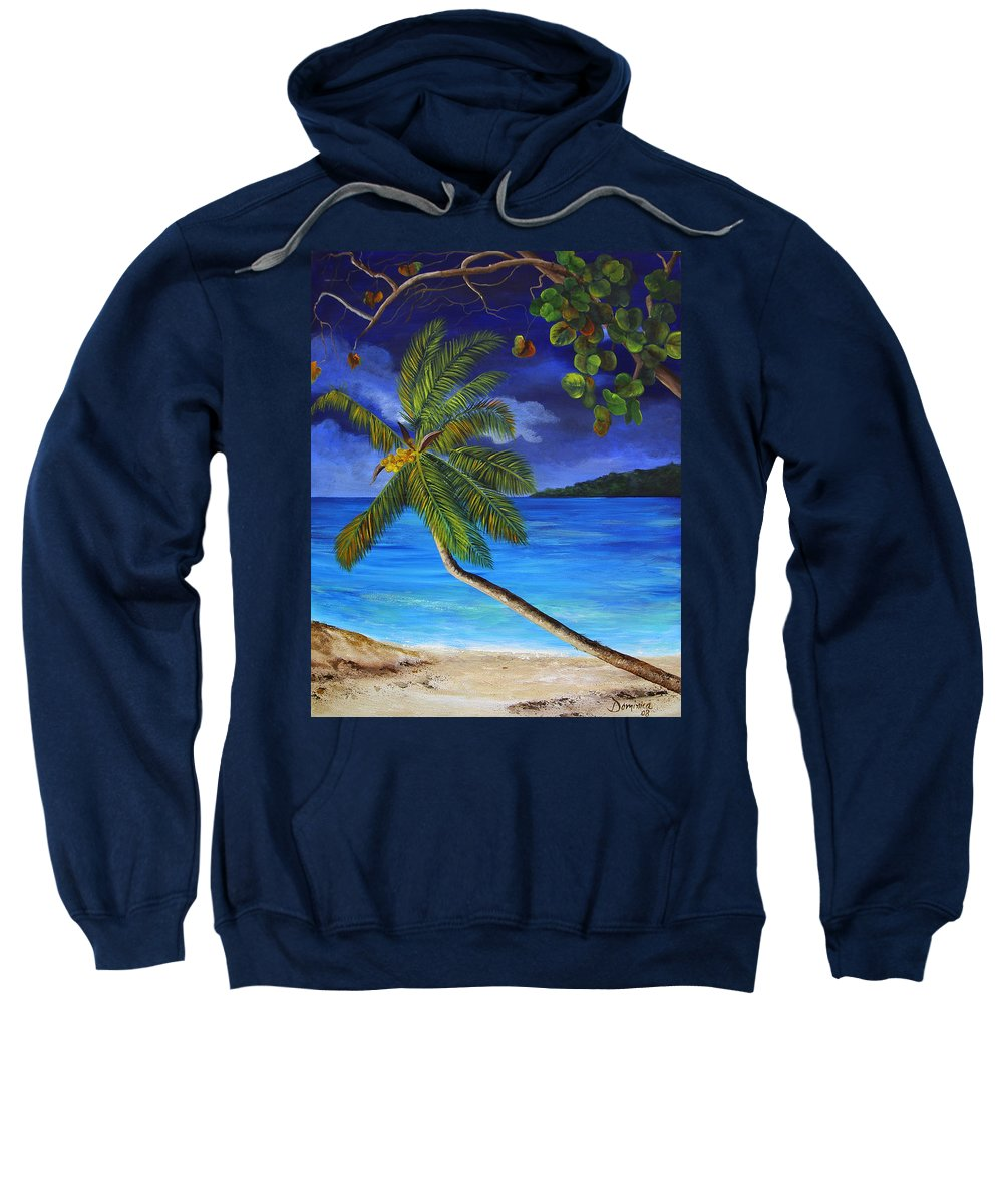 Beach Sweatshirt featuring the painting The Beach At Night by Dominica Alcantara