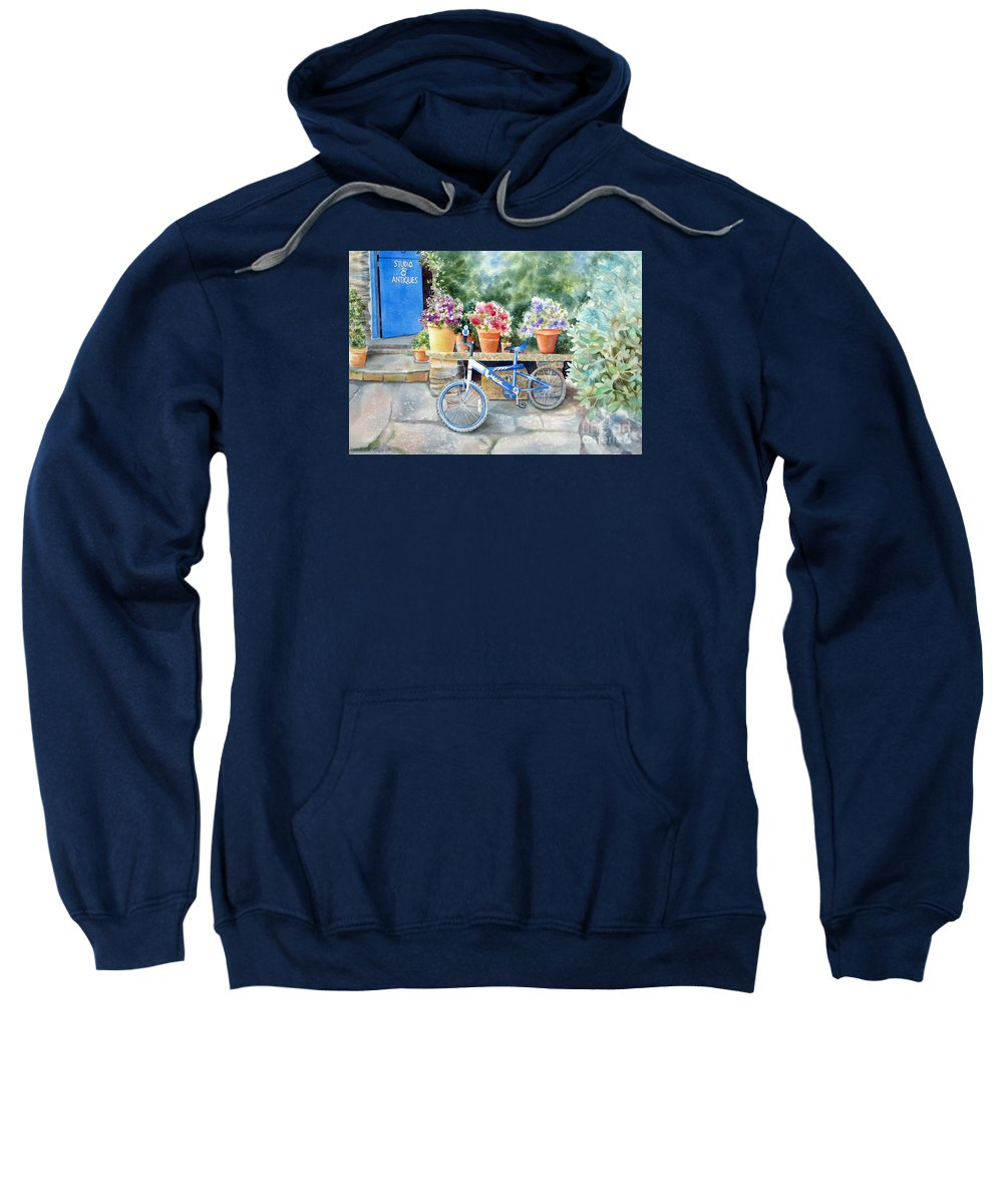 Blue Bicycle Sweatshirt featuring the painting The Blue Bicycle by Deborah Ronglien