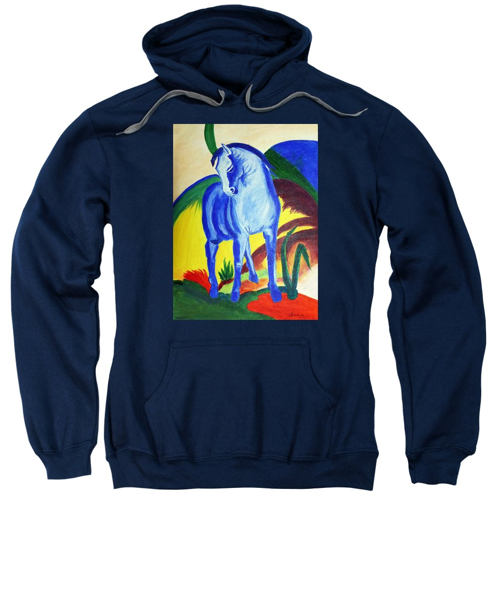 Horse Sweatshirt featuring the painting The Blue Horse Franc Marz by Asha Sudhaker Shenoy