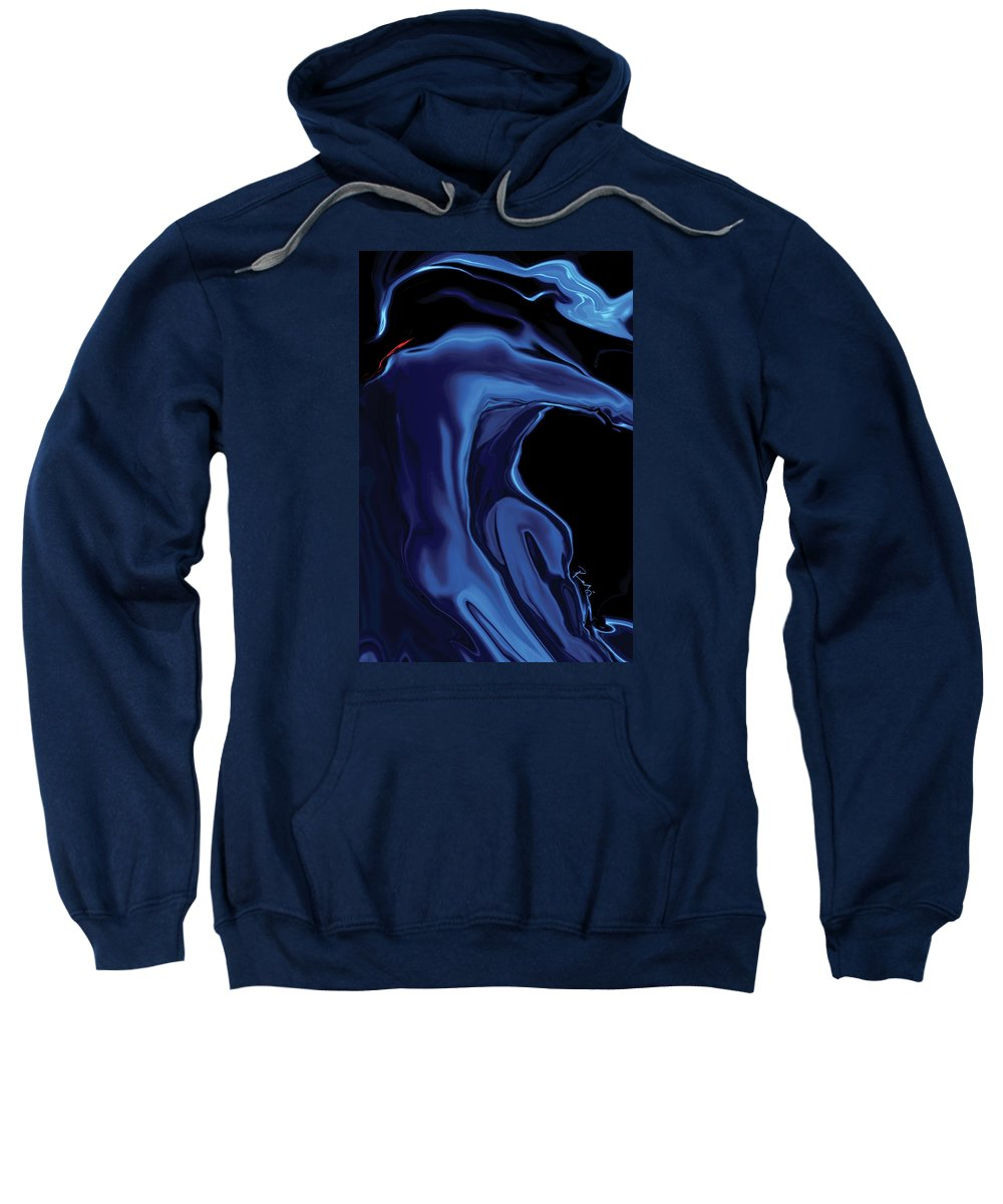 Abstract Sweatshirt featuring the digital art The Blue Kiss by Rabi Khan