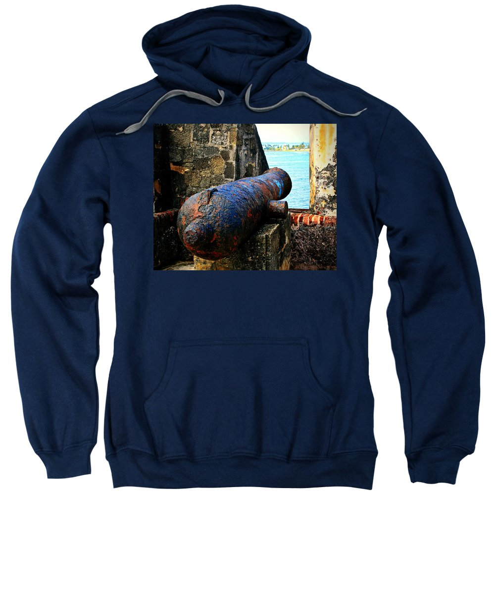 Fort Sweatshirt featuring the photograph The Cannon by Perry Webster