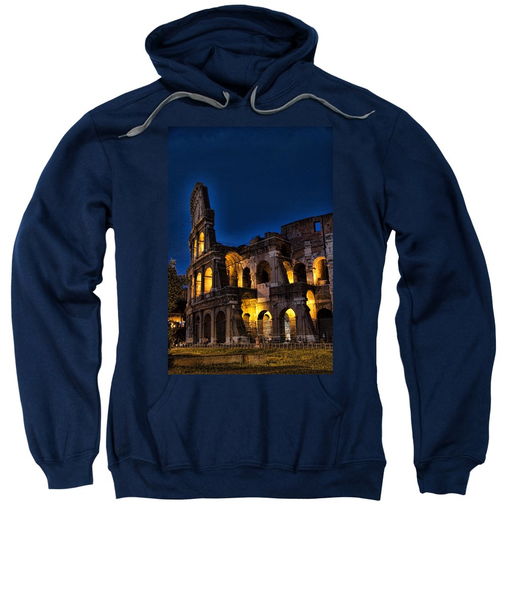 Coleseum Sweatshirt featuring the photograph The Coleseum In Rome At Night by David Smith