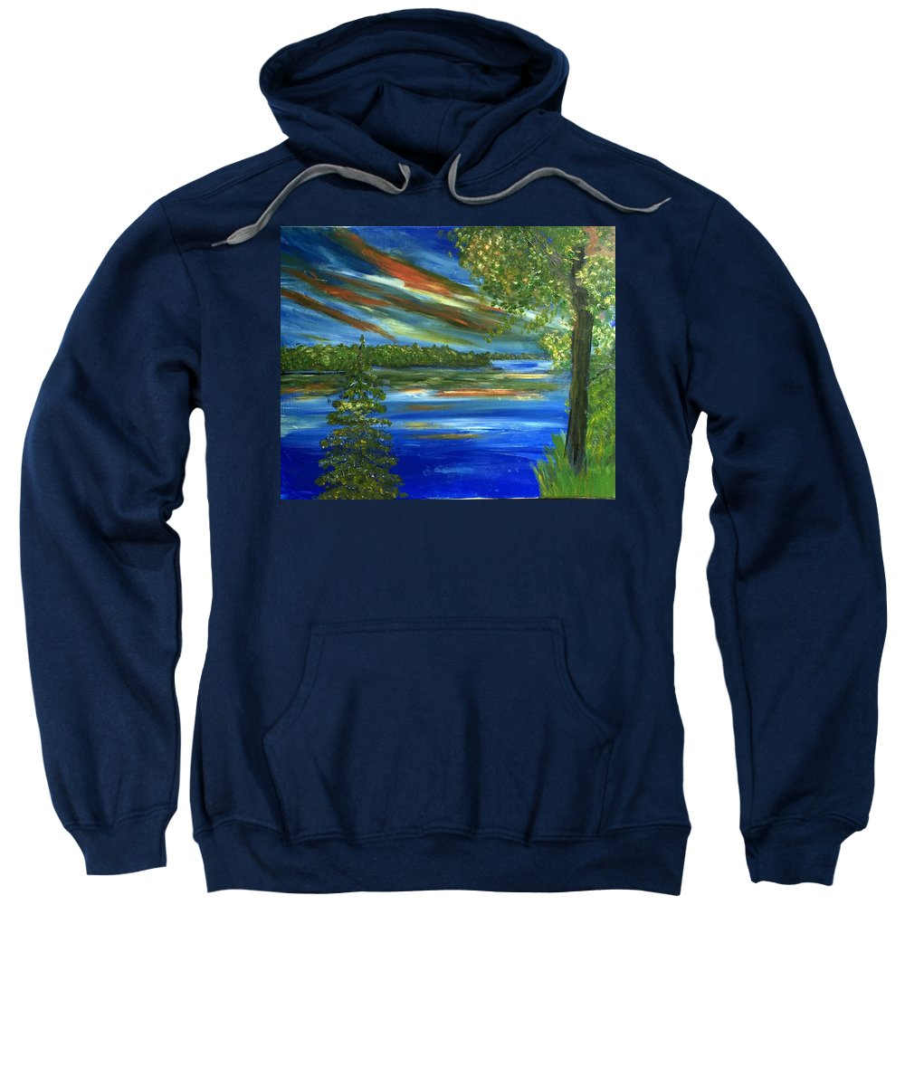 #lake Sweatshirt featuring the painting The Cove by Linda Waidelich