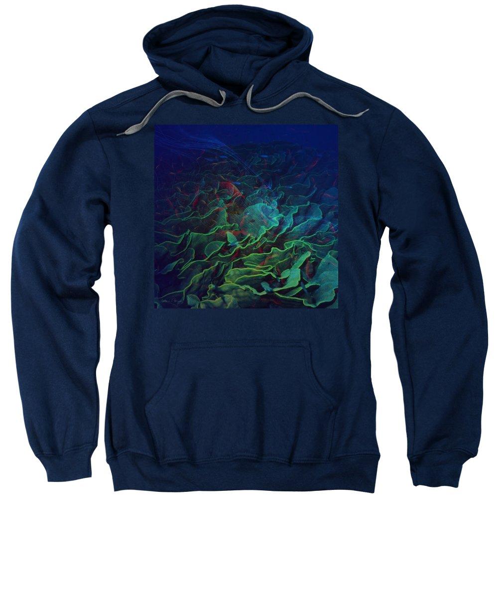 Ocean Sweatshirt featuring the digital art The Deep by Barbara Berney