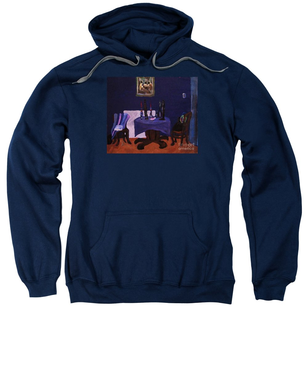 Talbe Chairs Dining Room Candles Blue Painting Sweatshirt featuring the painting The Dining Room by Reb Frost