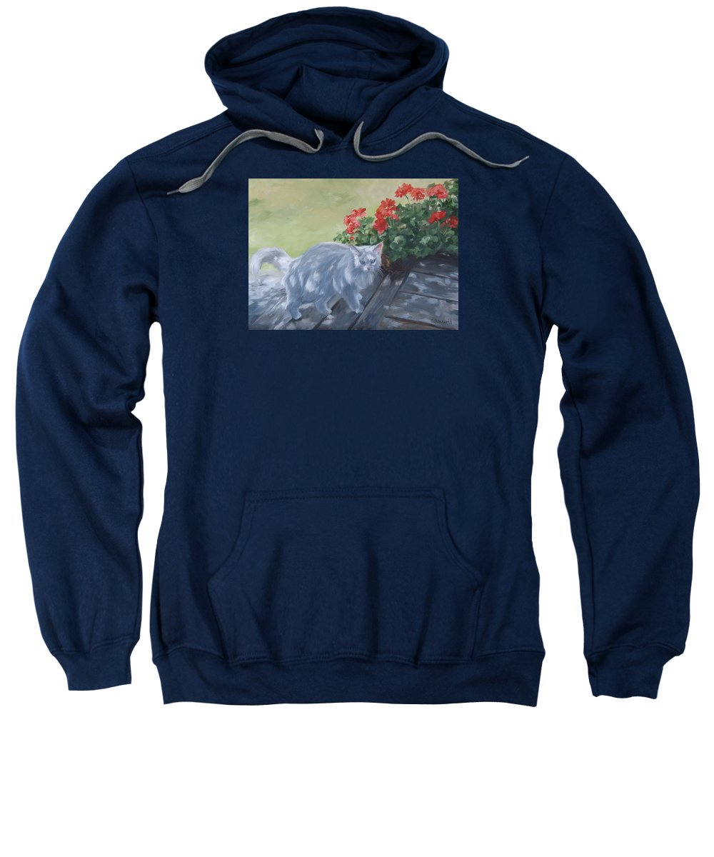 Cat Sweatshirt featuring the painting A Feral Cloud by Connie Schaertl