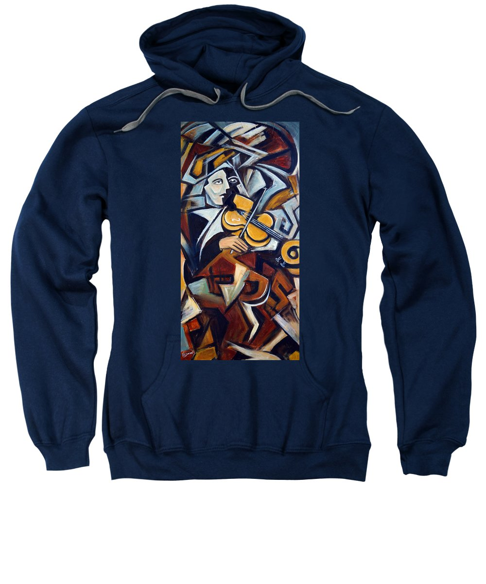 Musician Sweatshirt featuring the painting The Fiddler by Valerie Vescovi
