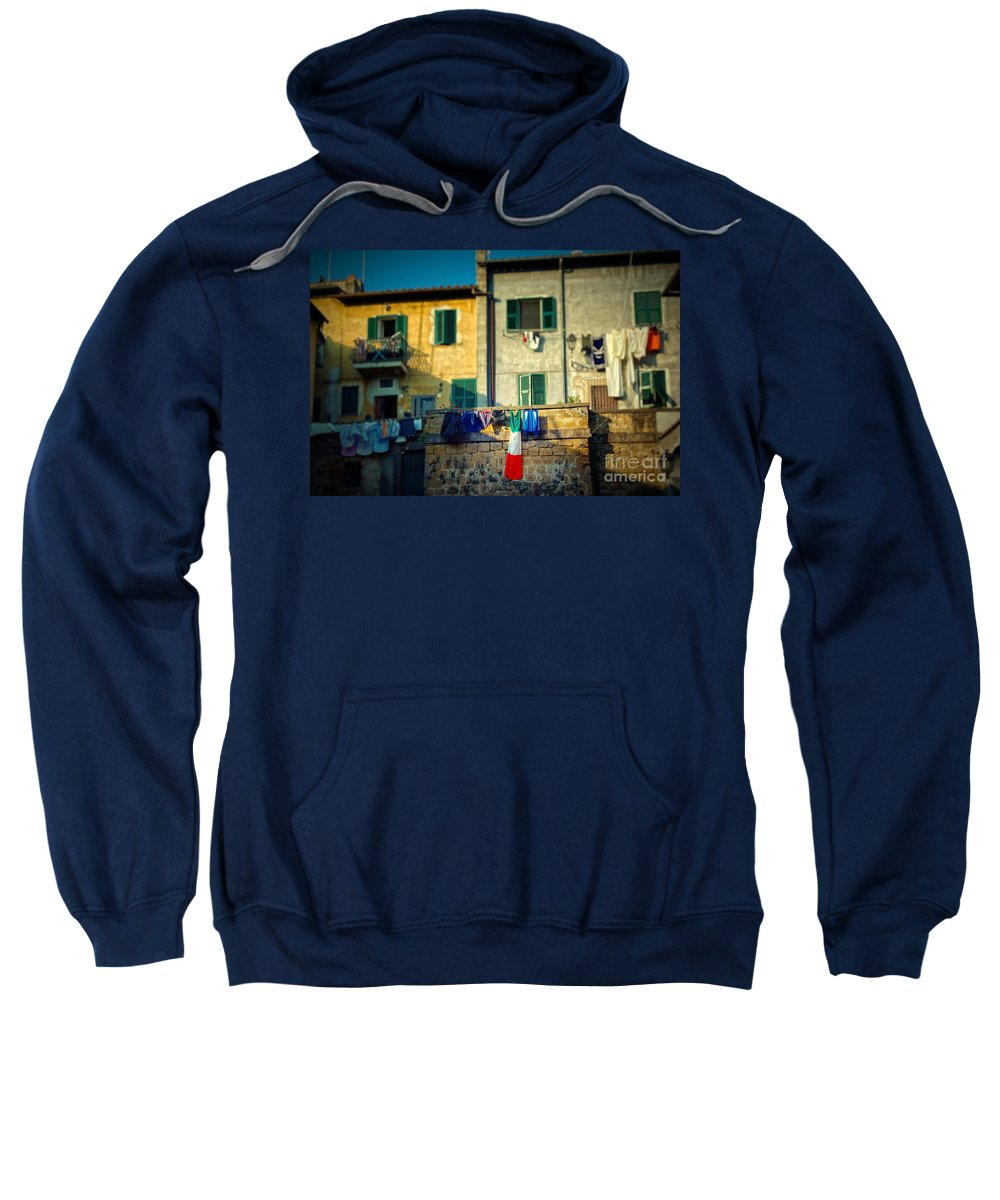 Flag Sweatshirt featuring the photograph The Flag Needed Washing by Silvia Ganora