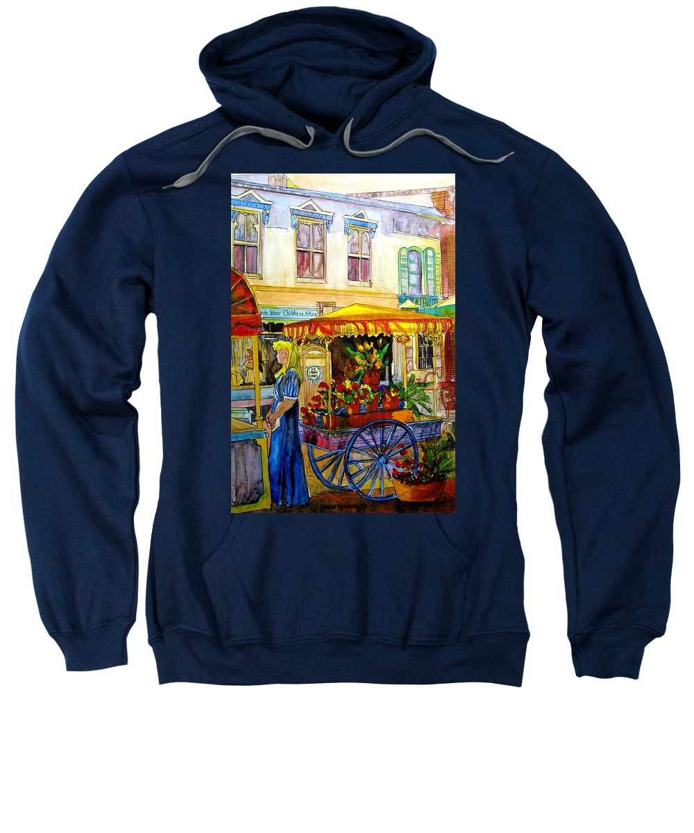 The Flowercart Sweatshirt featuring the painting The Flowercart by Carole Spandau