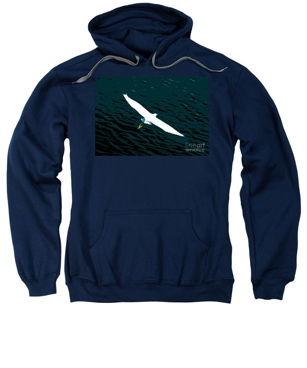 Great White Egret Sweatshirt featuring the photograph The Flying Egret by David Lee Thompson