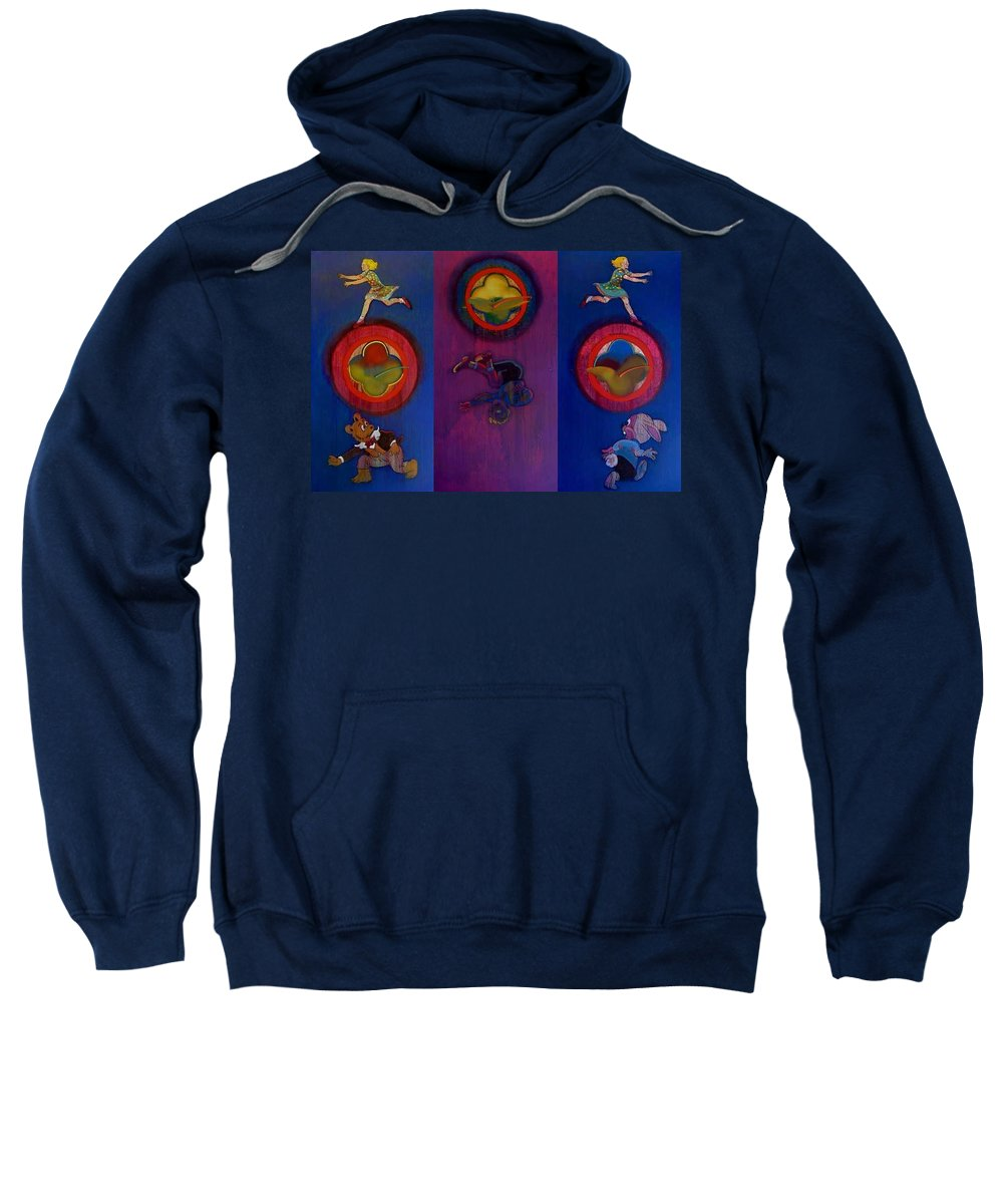 The Drums Of The Fruit Machine Stop At Random. Triptych Sweatshirt featuring the painting The Fruit Machine Stops II by Charles Stuart