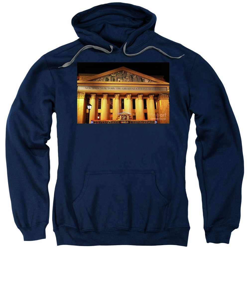 New York New York Hotel The Greatest City In Las Vegas Sweatshirt featuring the photograph The Greatest City In Las Vegas by Mariola Bitner