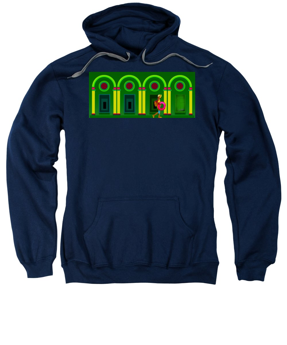 Classical Sweatshirt featuring the digital art The Green Door by Charles Stuart