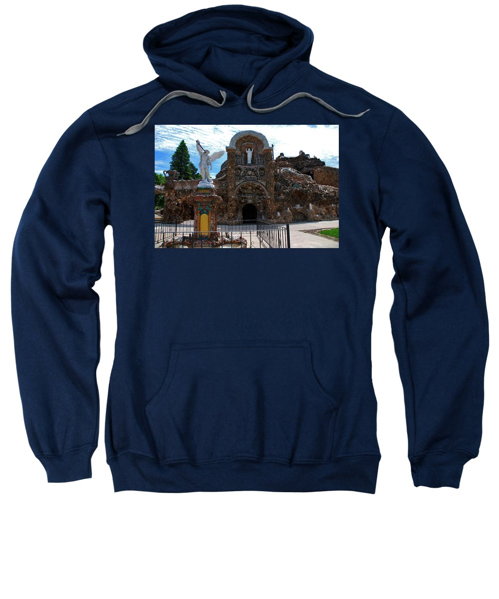 Entrance To The Grotto Of Redemption Sweatshirt featuring the photograph The Grotto Of Redemption In Iowa by Susanne Van Hulst