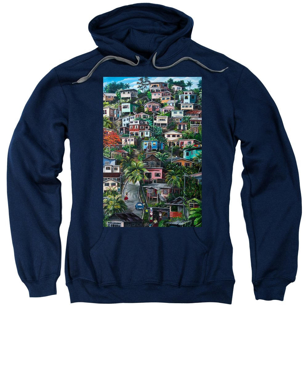 Landscape Painting Cityscape Painting Houses Painting Hill Painting Lavantille Port Of Spain Painting Trinidad And Tobago Painting Caribbean Painting Tropical Painting Caribbean Painting Original Painting Greeting Card Painting Sweatshirt featuring the painting The Hill   Trinidad by Karin Dawn Kelshall- Best