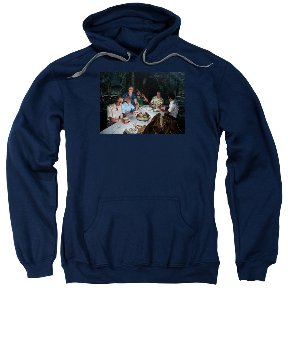 Last Supper Sweatshirt featuring the painting The Last Supper by Dave Martsolf